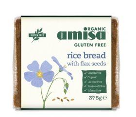 Amisa Organic GF Rice Bread with Flax seeds 375g x8