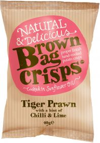 Brown Bag Crisps Tiger Prawn with hint of Chilli & Lime 40g x20