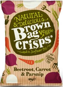 Brown Bag Veggie Crisps Beetroot, Carrot and Parsnip 40g x15