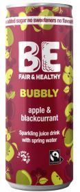 Be Bubbly Fairtrade Apple and Blackcurrant Drink 250ml x24