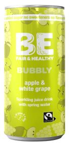 Be Bubbly Fairtrade Apple and White grape Drink 250ml x24