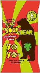 Bear Pure Fruit & Veg Strawberry and Apple Super Sour Yoyos 20g x18
