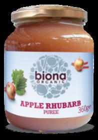 Biona Apple & Rhubarb Puree Organic - No added sugar 360gx6