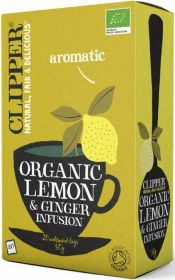 Clipper Organic Lemon and Ginger Infusion Tea Bags 50g (20's) x6