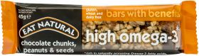 Eat Natural Bars with Benefits High in Omega 3* - Chocolate Chunks, Peanuts and Seeds 45g x12