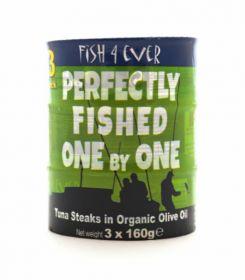 Fish 4 Ever Skipjack Tuna Steaks in Organic Olive Oil (Triple Pack) 160gx3 (x12)