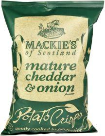 Mackie's of Scotland Mature Cheddar and Onion Potato Crisps (Sharing Bag) 150g x12