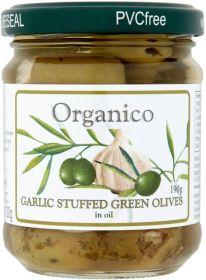 Organico Organic Garlic Stuffed Olives 190g x6
