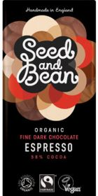 Promo- Seed and Bean Fair Trade & Organic Coffee Espresso Fine Dark Chocolate 85g x8