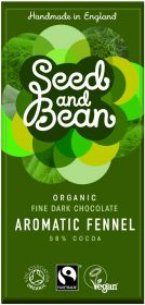 Seed and Bean Fair Trade & Organic Aromatic Fennel Fine Dark Chocolate 85g x8