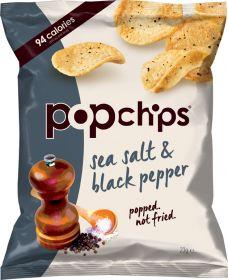 Popchips Sea Salt and Black Pepper Popped Potato Crisps 23g x24