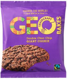 Traidcraft Geobakes Fair Trade Double Chocolate Chip Giant Cookies 75g x12
