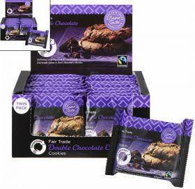 Traidcraft Fair Trade Double Chocolate Chunk Cookies 45g (2's) x16 (BBE:�25 Aug 20)