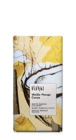 Vivani Organic White with Mango Pieces, Coco and Yoghurt Chocolate 100g x10