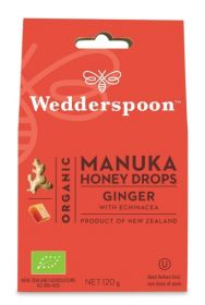 Wedderspoon Ginger Natural Manuka Honey Drops (20 Drops Per Box) 120g x12