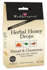 Wedderspoon Fennel Natural Herbal Thyme Honey Drops (20 Drops Per Box) 120g x12